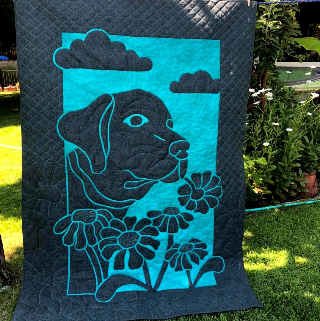 Dog and Daisy 2 Fabric Applique Quilt Pattern by Pacific Rim Quilt Company