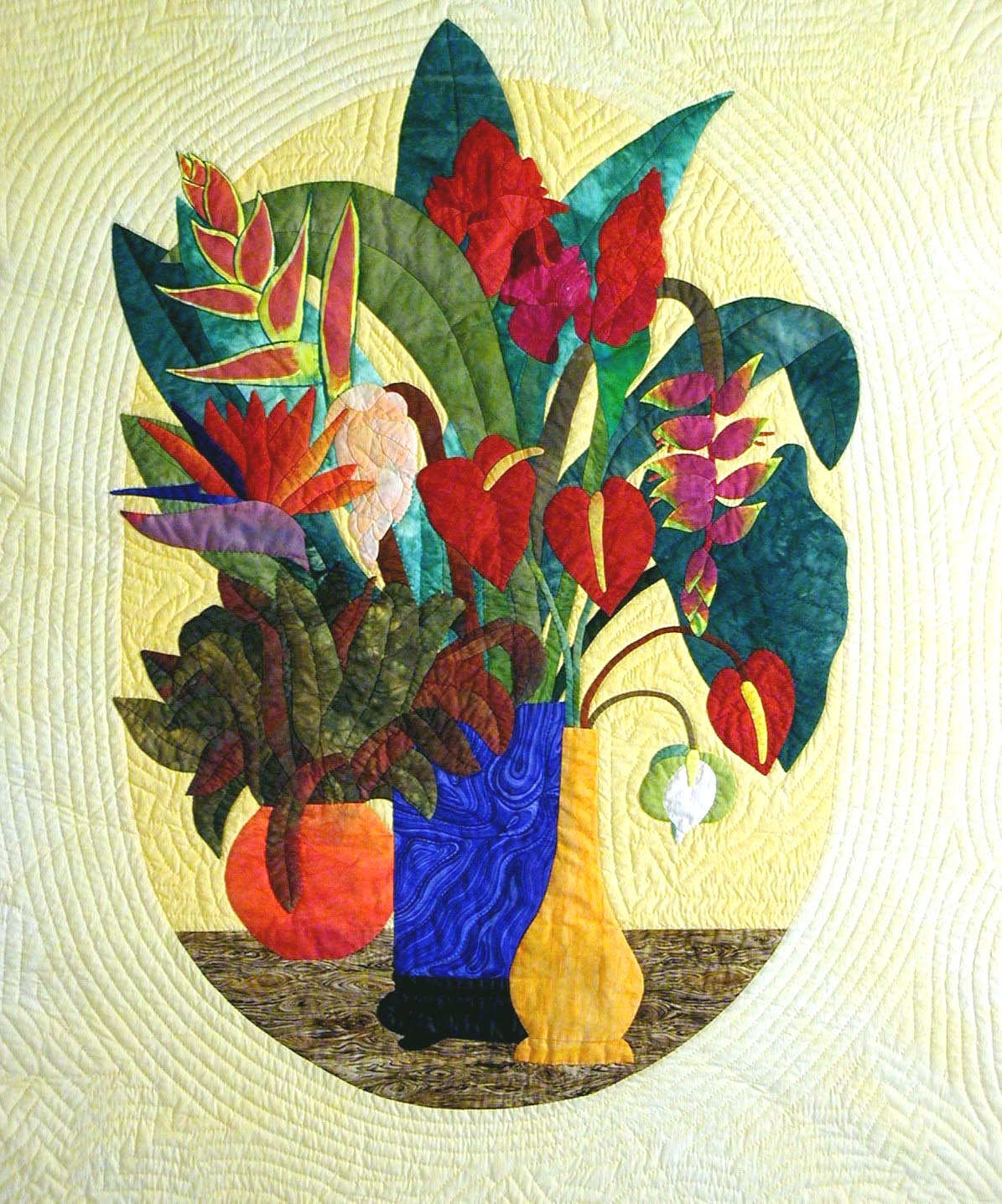 Center block, vase filled with tropical flowers