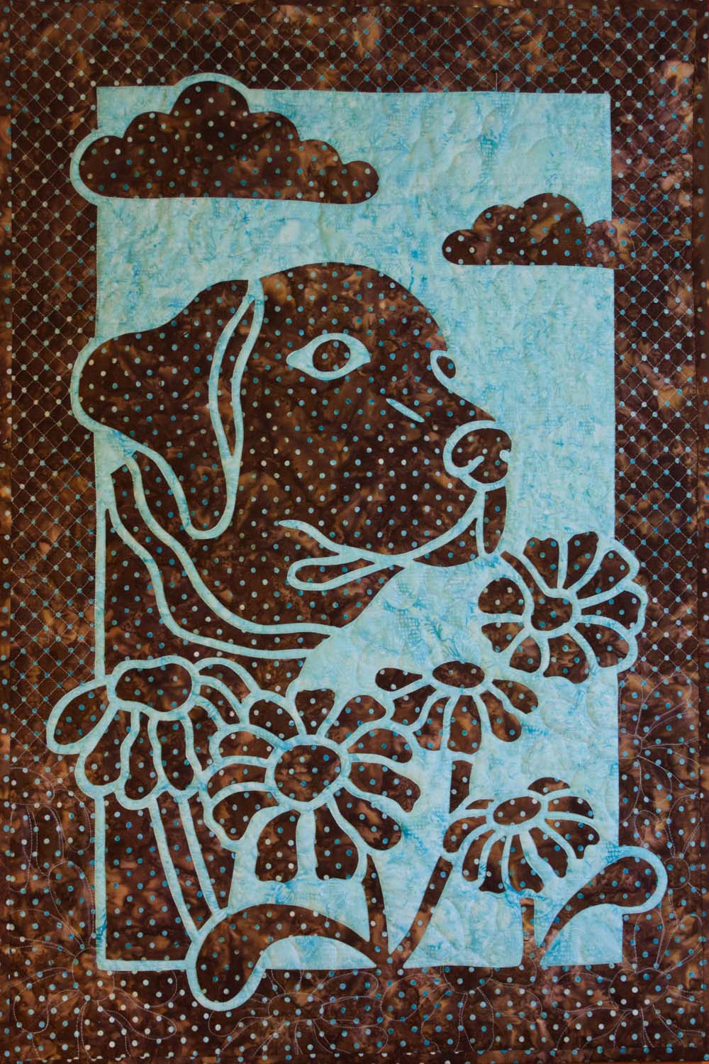 Dog and Daisy 2 Fabric Applique Quilt Pattern