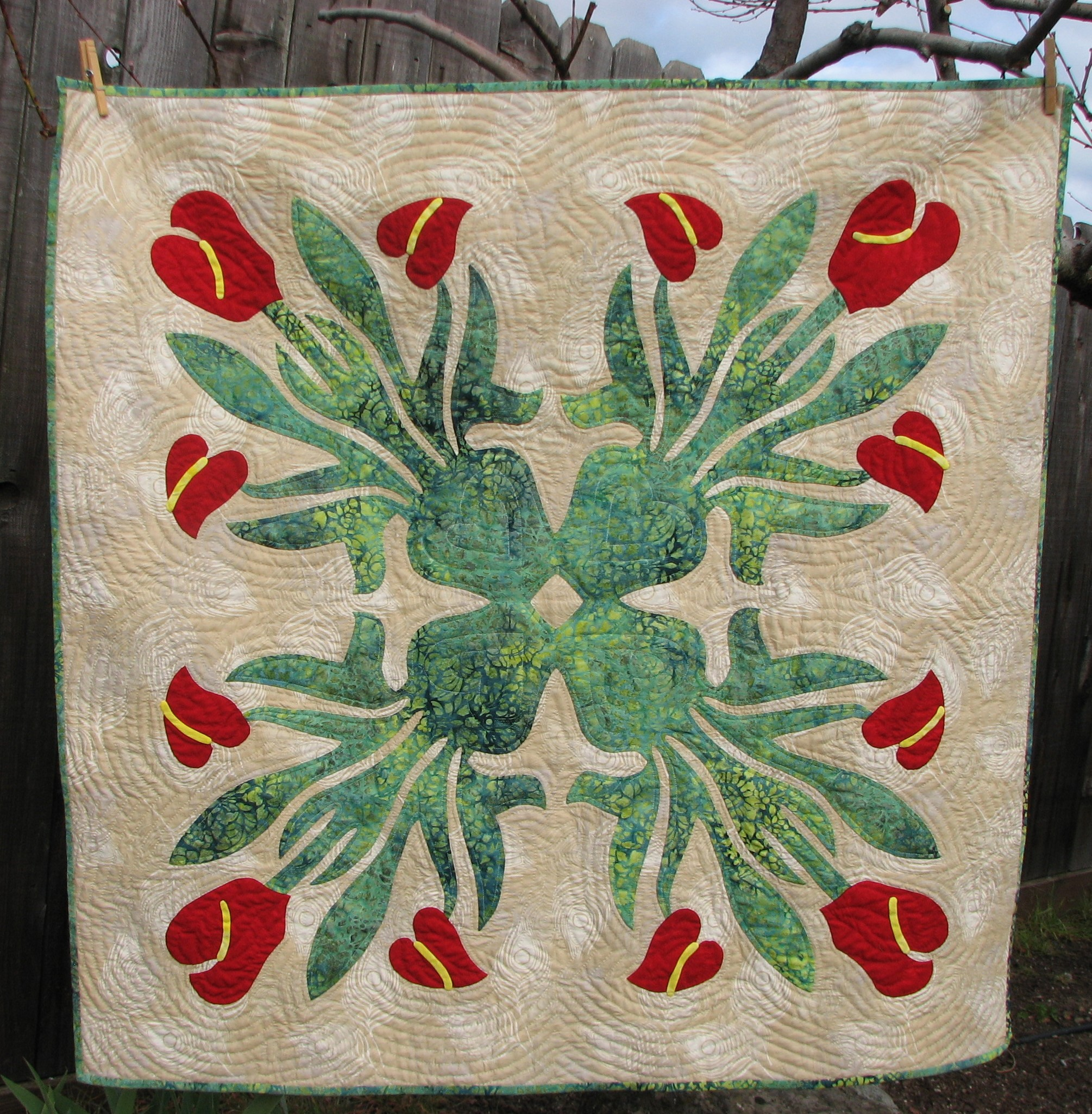 Flowers that Never Fade Hawaiian Wall Quilt Pattern