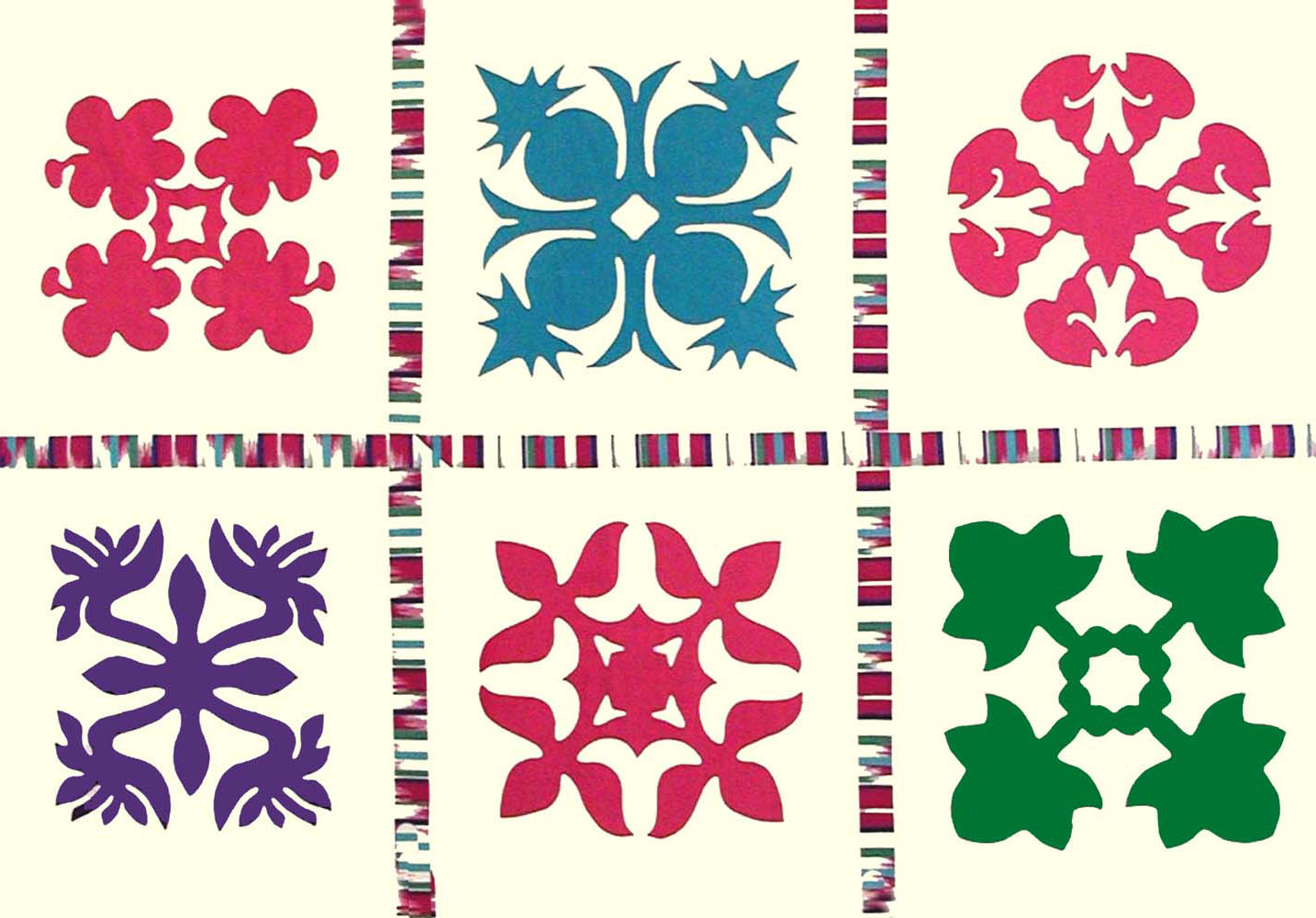Tropical Floral Hawaiian Block Pattern